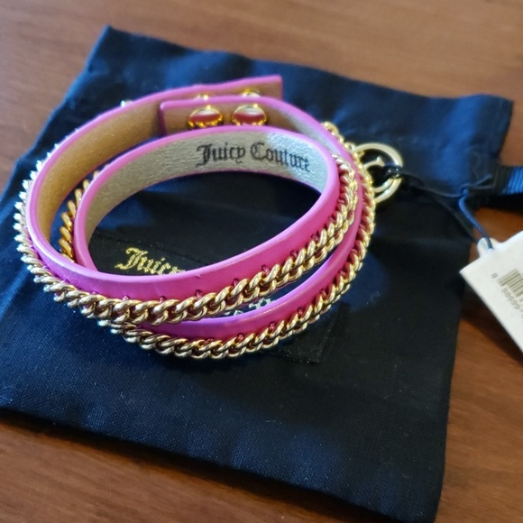 Juicy Couture Jewelry - Juicy leather & chain wrap bracelet